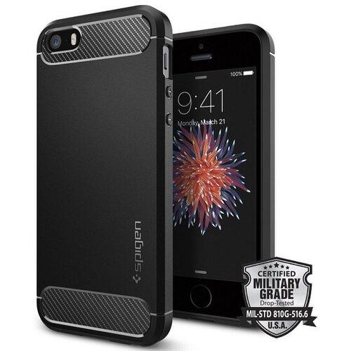 Puzdro Spigen Rugged Armor iPhone 5/5s/SE TPU, čierne