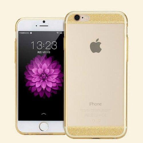Puzdro iPhone 6 Plus/6s Plus zadné silikónové Crystal clear, zlaté