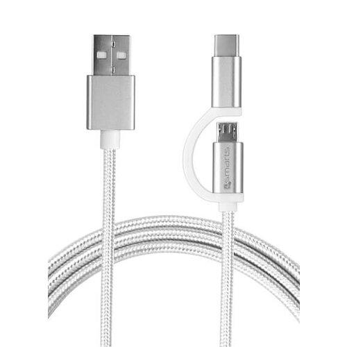 4smarts Combocord 2.1A Micro-USB a USB-C kábel 1m - biely