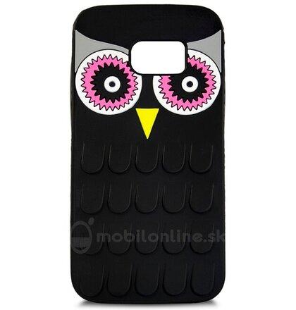 Puzdro Samsung Galaxy S7 G930 gumené 3D Sova, čierne