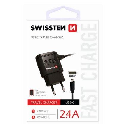 Nabíjačka Swissten USB-C 2.4A - čierna