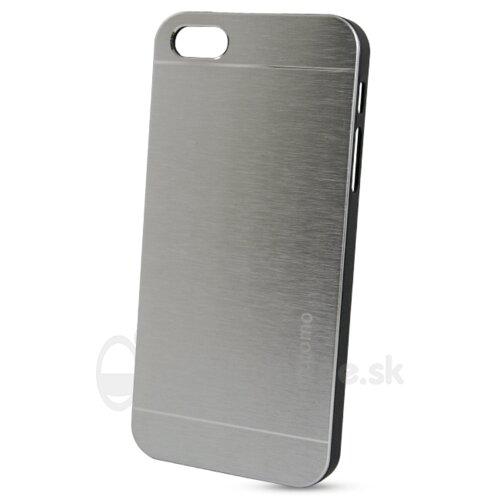 Puzdro Brúsený hliník NoName Hard iPhone 5/5s/SE- strieborné