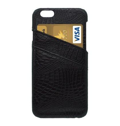 Plastový obal s koženkovým povrchom iPhone 6, čierny