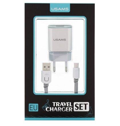 USAMS Dual 2.4A USB Cestovní Dobíječ + U-Trans microUSB Kabel White/Grey (EU Blister)