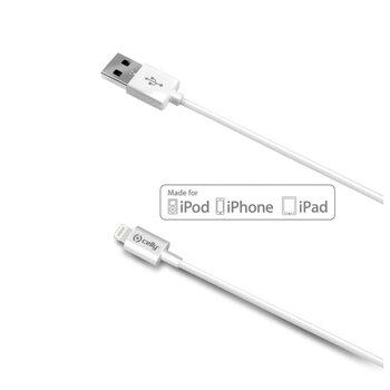 Dátový USB kábel CELLY pre prístroje Apple s konektorom Lightning, 2M, biely