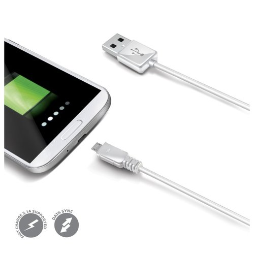Dátový USB kábel CELLY s konektorom microUSB, biely