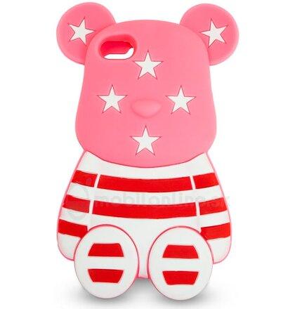 Puzdro iPhone 5/5s/SE 3D guma USA macko motív, ružový