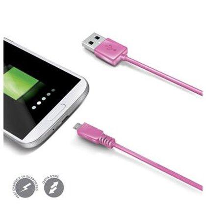 Dátový USB kábel CELLY s konektorom microUSB, ružový