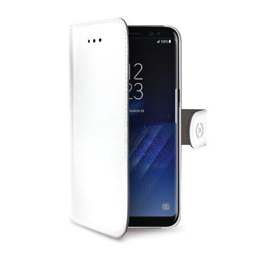 Púzdro typu kniha CELLY Wally pre Samsung Galaxy S8 Plus, PU kože, biele