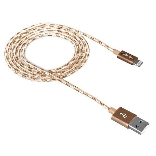 Dátový kábel Canyon CNE-CFI3GO Lightning 1m Zlatý opletený