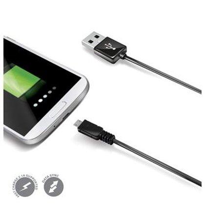 Dátový USB kábel CELLY s konektorom microUSB, čierny