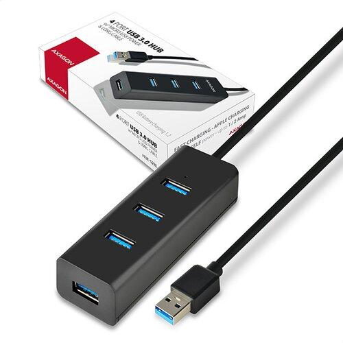 USB HUB AXAGON HUE-S2BL 4xUSB 3.0 + Kábel MicroUSB 1.2m + Napájací zdroj Čierny