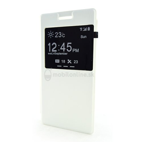 Puzdro Sony Xperia M4 Aqua Flip Cover s okienkom bočné koženkové knižkové puzdro, biele