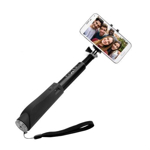 Teleskopická selfie tyč FIXED v luxusnom hliníkovom prevedení s BT spúšť - čierna