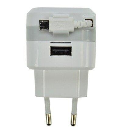 Solight USB nabíjací adaptér, navíjací kábel micro USB + 1x USB, 2400mA max., AC 230V, bielosivý