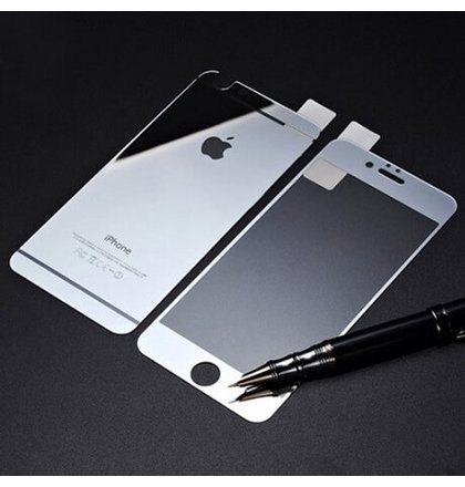 Tvrdené sklo iPhone 6/6s Mirror predné + zadné, strieborné