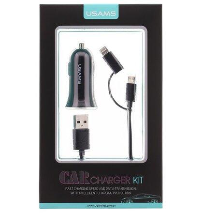 Autonabíjačka USAMS CC013 A-TU USB + U-Gee 2v1 Kábel (microUSB/lightning) - čierna