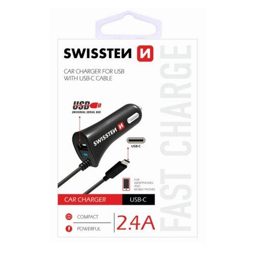 Autonabíjačka Swissten 1xUSB 2.4A s USB-C káblom Čierna