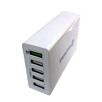 50 W Sieťový adaptér Swissten Qualcomm 3.0 Quick Charge + Smart IC 5x, biely (bulk)