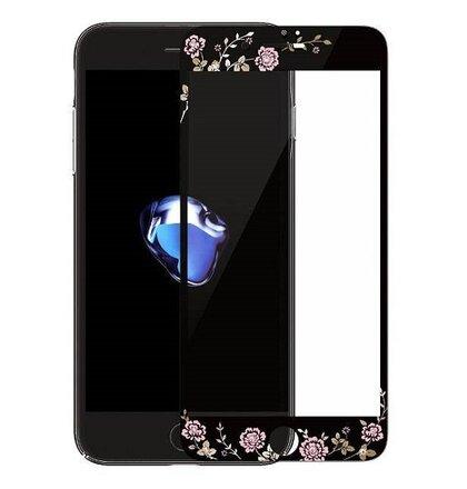 Tvrdené sklo Kauro 9H iPhone 7/8 vzor kvety - čierne