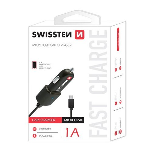 Autonabíjačka Swissten CL 1A s MicroUSB káblom Čierna