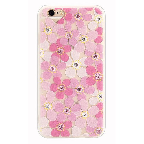 Puzdro Fashion Diamond TPU iPhone 6/6s vzor kvety - ružové