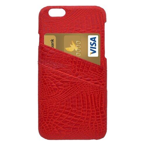 Plastové puzdro s koženkovým povrchom iPhone 6, červené