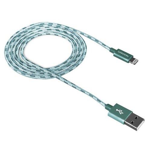 Dátový kábel Canyon CNE-CFI3GO Lightning 1m Zelený opletený