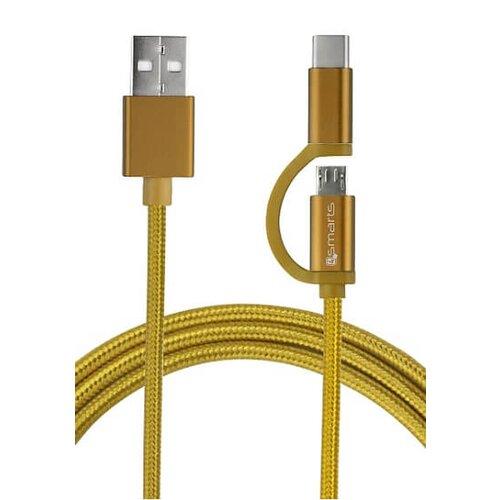 4smarts Combocord 2.1A Micro-USB a USB-C kábel 1m - zlatý