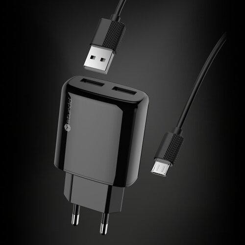 Nabíjačka Sturdo 2xUSB 10W + Kábel MicroUSB 1m Čierna