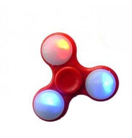 Fidget Spinner, LED - červený