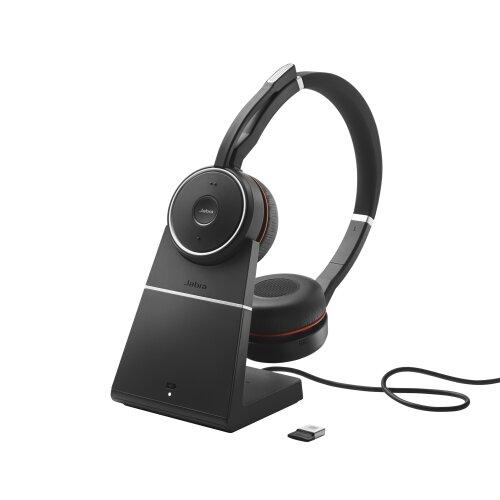 Jabra Evolve 75 Bluetooth slúchadlá so stojanom Čierne