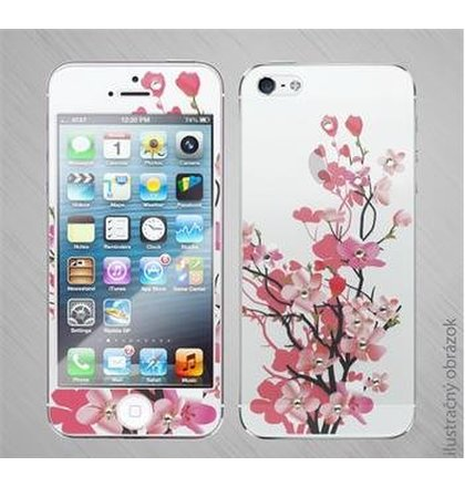 Tvrdené Sklo na iPhone 6/6S celotelové (fullbody), vzor kvety