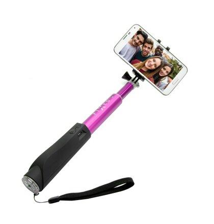 Teleskopický selfie stick FIXED v luxusnom hliníkovom prevedení s BT spúšťa, ružový