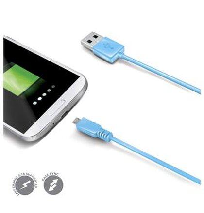 Dátový USB kábel CELLY s konektorom microUSB, modrý, rozbalené