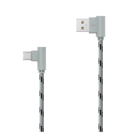 Textilný dátový kábel micro USB sivý lomený 2m 2.4A