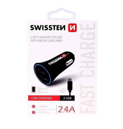 Autonabíjačka Swissten CL adaptér na USB 2.4A + kábel USB-C