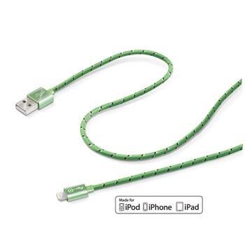 Dátový USB kábel CELLY textil s konektorom Lightning, zelený