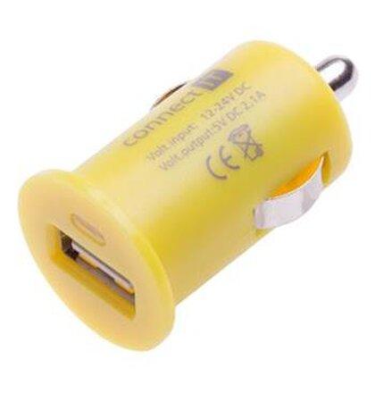 CONNECT IT InCar COLORZ nabíjačka do auta 1xUSB 2,1A, žltá