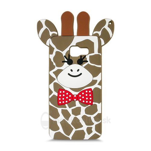 Puzdro 3D TPU Samsung Galaxy A5 A510 2016 motív žirafa - hnedé