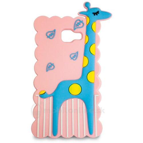 Puzdro Samsung A5 A510 2016 gumené 3D Žirafa, ružové