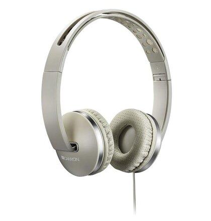 Canyon CNS-CHP4BE, slúchadlá na uši s integrovaným mikrofónom, skladacie, béžové