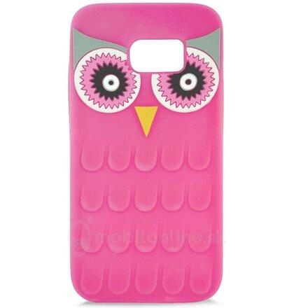 Puzdro Samsung Galaxy S7 G930 gumené 3D Sova, ružové