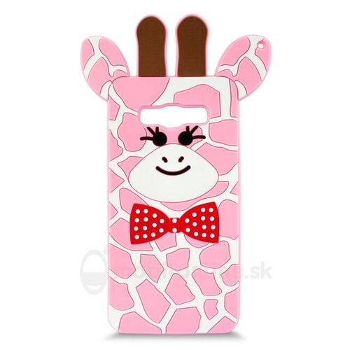 Puzdro 3D TPU Samsung Galaxy J5 J510 2016 motív žirafa - ružové