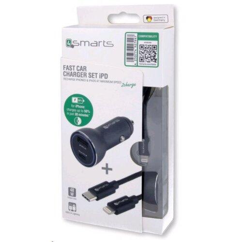 Autonabíjačka 4smarts iPD pre Apple + Kábel Lightning/USB-C 1m Čierna