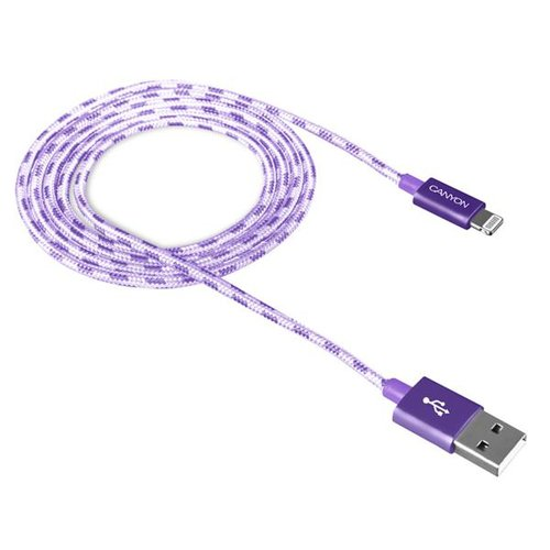 Dátový kábel Canyon CNE-CFI3GO Lightning 1m Fialový opletený