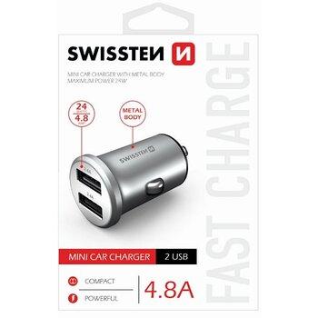 Autonabíjačka Swissten Metal Mini Adaptér 2xUSB 4,8A - bielo strieborná