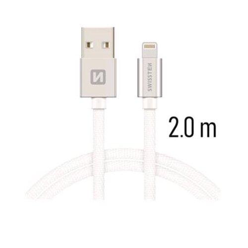 Dátový kábel Swissten Lightning (8pin) 2m Bielo-strieborný opletený