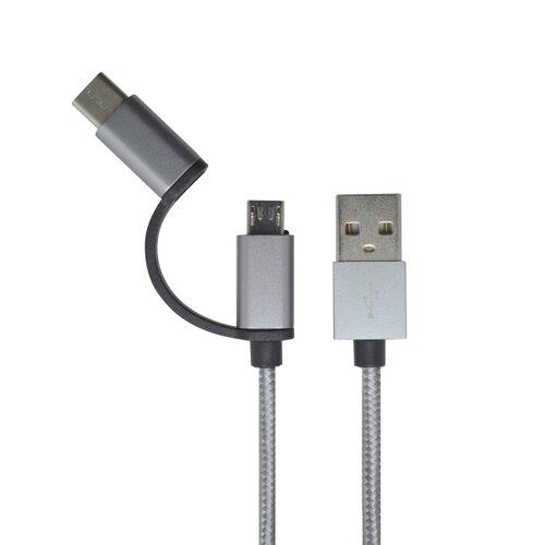 Dátový kábel 2v1 MicroUSB/USB-C 2.4A 1m Sivý
