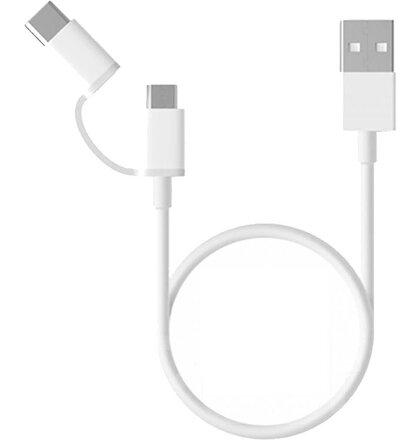 Xiaomi SJV4082TY Original Datový Kabel MicroUSB/Type-C (1M) White (EU Blister)
